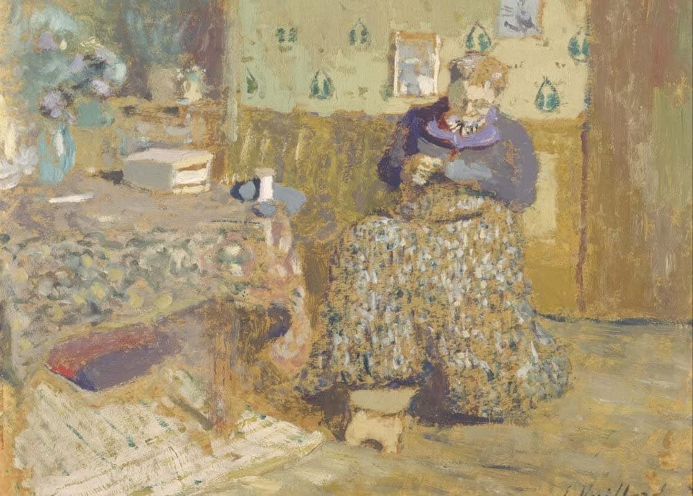 Edouard Vuillard 'Madame Vuillard Sewing, Detail', France, 1920, Impressionism, Reproduction 200gsm A3 Vintage Classic Art Poster