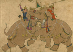 Vintage Persian and Islamic Art 'Elephant Combat', Mughal, 19th Century, Reproduction 200gsm A3 Vintage Classic Art Poster