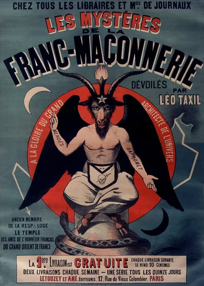 Vintage Occult and Magic, Freemasonry 'The Taxil Hoax Exposure', by Leo Taxil, 1890's, Reproduction 200gsm A3 Vintage Poster