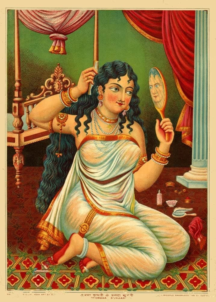 Classic Indian Art 'Pramaoda Sundari, Depicting A Passionate Lady', Chore Began Art Studio, Calcutta (Kolkata) Late 19th Century, Reproduction 200gsm A3 Vintage Poster