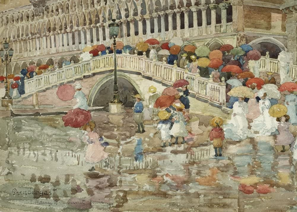 Maurice Brazil Prendergast 'Umbrellas in The Rain, Detail', U.S.A, 1899, American Post-Impressionism, Reproduction 200gsm A3 Vintage Classic Art Poster