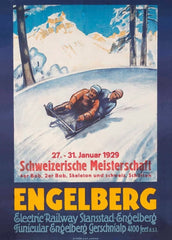 Vintage Travel Switzerland 'Engelbert', 1925, Reproduction 200gsm A3 Vintage Art Deco Skiing and Winter Sport Poster
