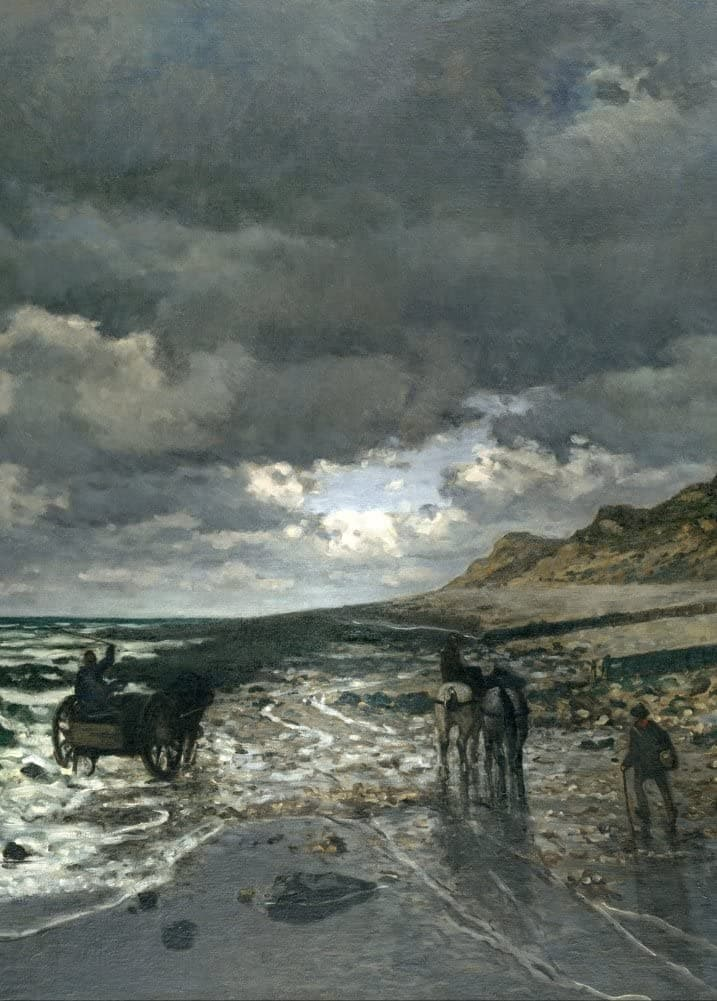 Claude Monet 'Heve Point at Low Tide', France, 1865, Impressionism, Reproduction 200gsm A3 Vintage Classic Art Poster