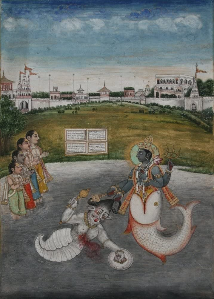 Classic Indian Art 'Matsya Avatara Dasvatara', Late Mughal Style, Delhi, Circa. 1800, Reproduction 200gsm A3 Vintage Poster