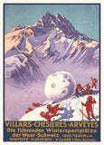 Vintage Travel Switzerland 'Villars, Chesieres, Ayveyes, Bretaye', 1934, Reproduction 200gsm A3 Vintage Art Deco Skiing and Winter Sports Poster