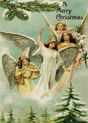 A Vintage Christmas 'A Merry Christmas from The Angels', Reproduction 200gsm A3 Classic Vintage Poster