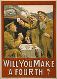 Vintage Irish WW1 Propaganda 'Will You Make A Fourth?', Ireland, 1914-18, Reproduction 200gsm A3 Vintage Propaganda Poster