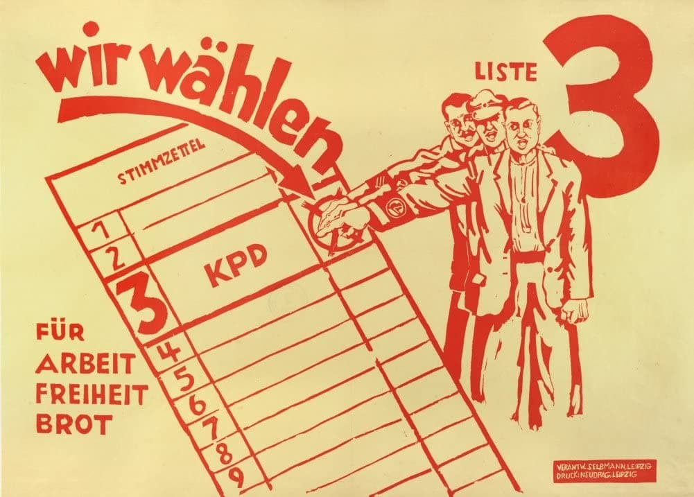 Vintage German Communist Propaganda 'for Work and Bread Elect The Communist Party of Germany', 1932, Reproduction 200gsm A3 Vintage German Interwar Communist Propaganda Poster
