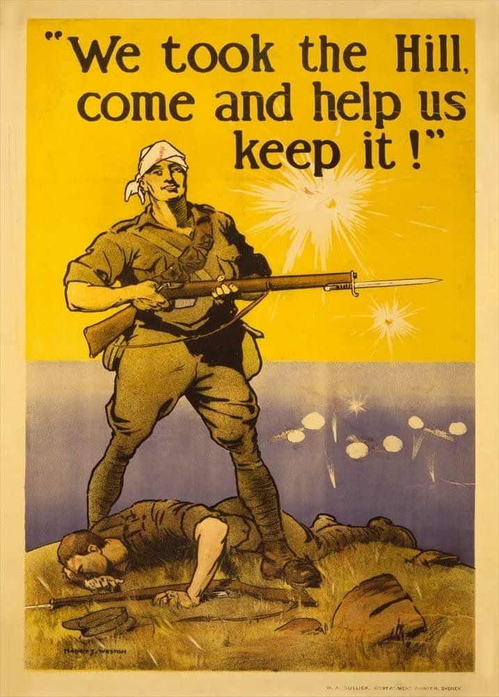 Australian WW1 1914-18 Propaganda 'We Took The Hill, Come and Help us Keep it', Reproduction 200gsm A3 Vintage Propaganda Poster