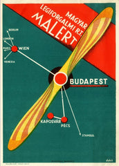 Vintage Travel Hungary 'Budapest to England, Germany, France, Italy, Turkey and Austria', Circa 1930's, Reproduction 200gsm A3 Vintage Art Deco Travel Poster