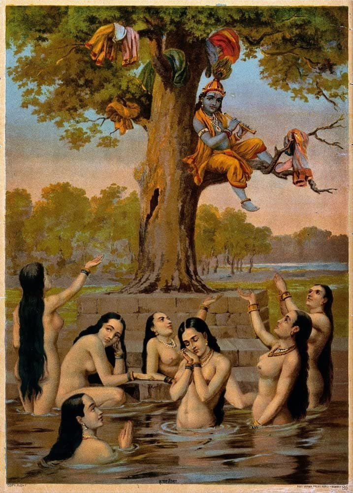 Classic Indian Art 'Krishna Sitting in a Tree with All The Gopis Clothes While They Beg Naked for Their Return', Ravi Varma Press, 20th Century, Reproduction 200gsm A3 Vintage Poster