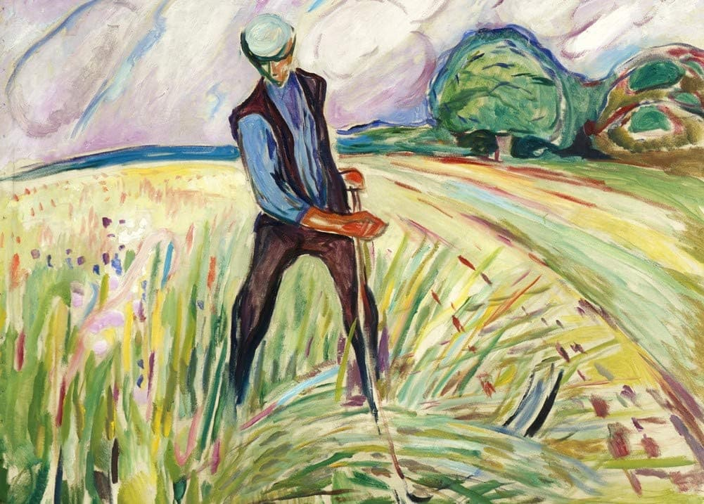 Edvard Munch 'Haymaker, Detail', Norway, 1917, Reproduction 200gsm A3 Vintage Classic Art Poster