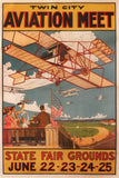 Vintage Travel America 'Twin City Aviation Meet', U.S.A, 1910, Reproduction 200gsm A3 Vintage Travel Poster