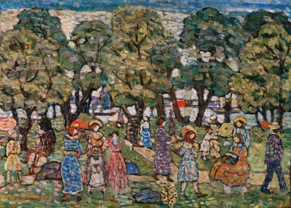 Maurice Brazil Prendergast 'Under The Trees', Circa. 1913-1915, American Post-Impressionism, Reproduction 200gsm A3 Vintage Classic Art Poster