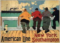 Vintage Travel America 'New York with American Line from Southampton', U.S.A, 1900, Henri Cassiers, Reproduction 200gsm A3 Vintage Art Nouveau Travel Poster