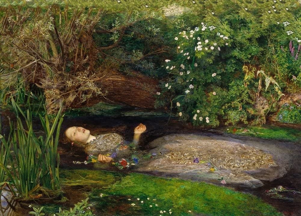 John Everett Millais 'Ophelia', England, 1851-52, Reproduction Vintage 200gsm A3 Classic Art Poster