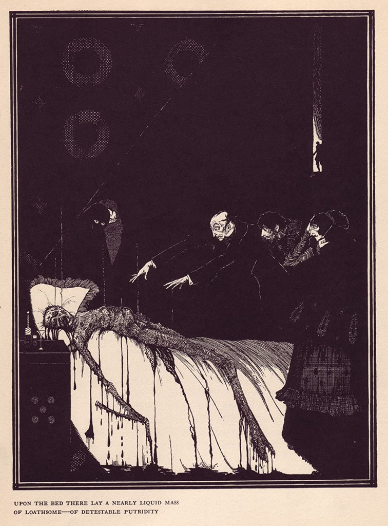 Harry Clarke 'Upon The Bed There Lay a Nearly Liquid Mass', from 'Tales of Mystery and Imagination', Ireland, 1919 by Edgar Allan Poe, Reproduction 200gsm A3 Vintage Classic Art Poster