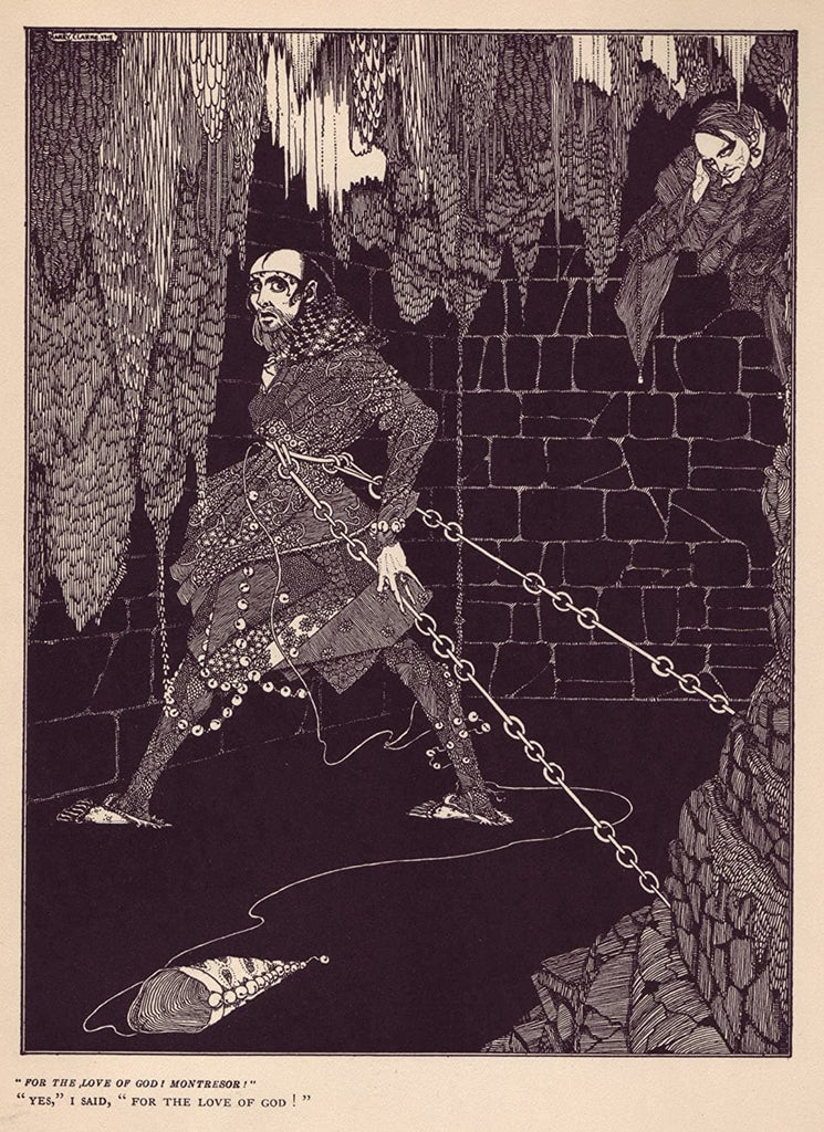 Harry Clarke 'for The Love of God! Montresor!', from 'Tales of Mystery and Imagination', Ireland, 1919 by Edgar Allan Poe, Reproduction 200gsm A3 Vintage Classic Art Poster