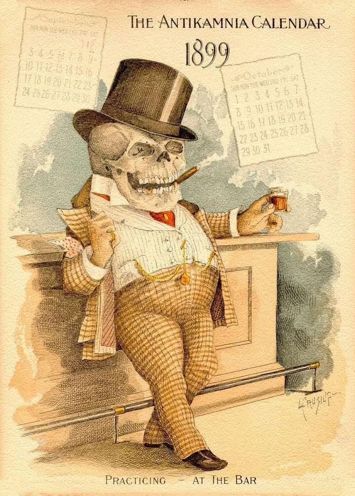 The Lawyer, from 'The Antikamnia Calendar', reproduction 200gsm A3 antique pharmaceutical poster