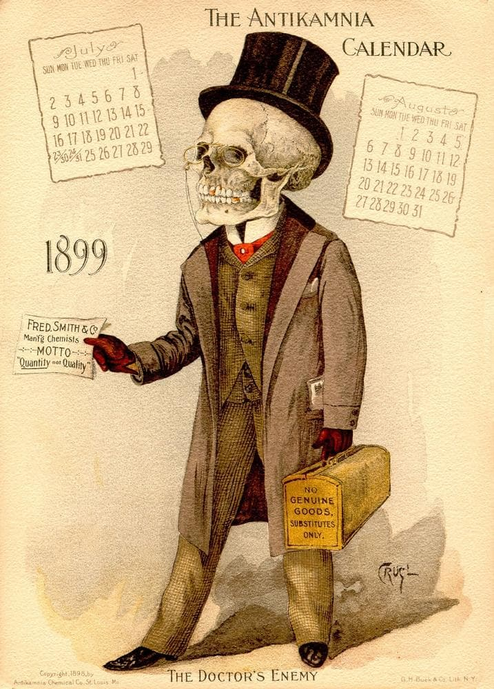 The Doctor's Enemy, from 'The Antikamnia Calendar', reproduction 200gsm A3 antique pharmaceutical poster