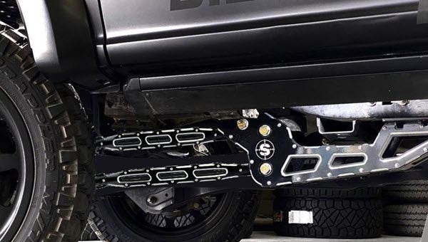 F450 Lift Kit using 4-Link Arms and the Stryker RAD Drop in Black Identity Series Badging-