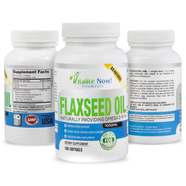 Organic Flaxseed Oil Softgels 100 count