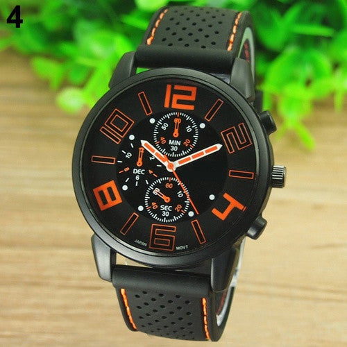 Casual Quartz Analog Silicone Stainless Steel Dial Sports WristWatch - xfunshopping
