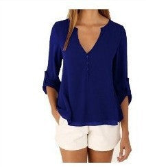 New Fashion Casual Sexy Deep V Neck Button Slim Waist Long Sleeves Chiffon Blouse Shirt Top - xfunshopping