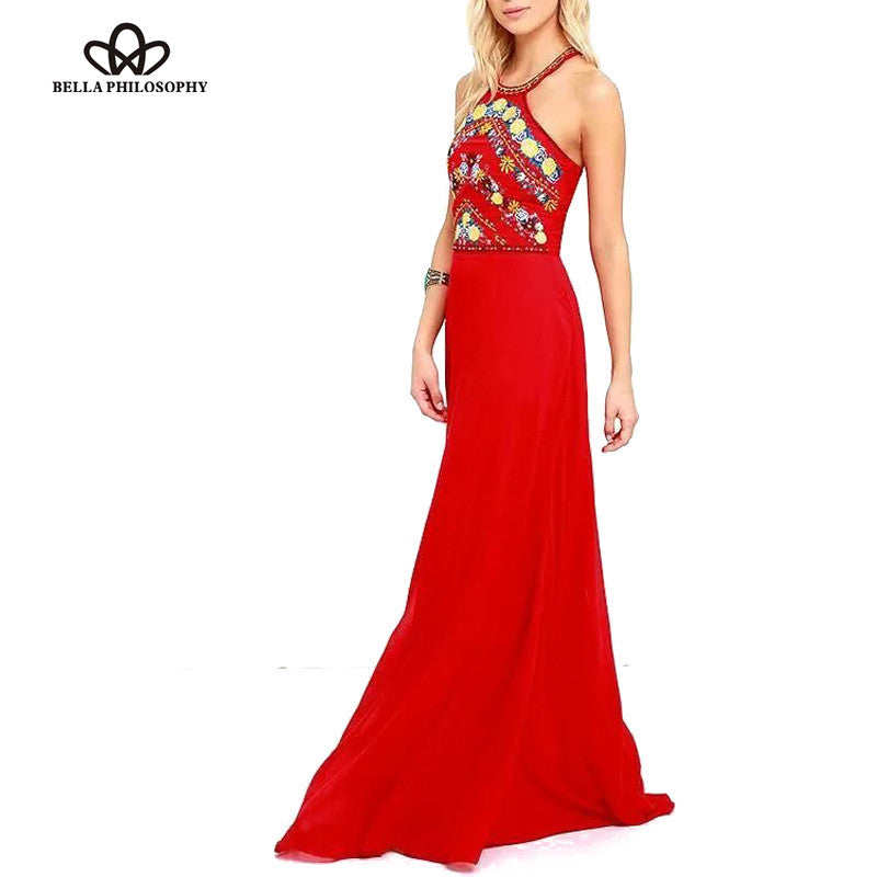 Bella Philosophy 2016 summer new women's high neck halter off the shoulder embroidery sexy long dress red blue - xfunshopping