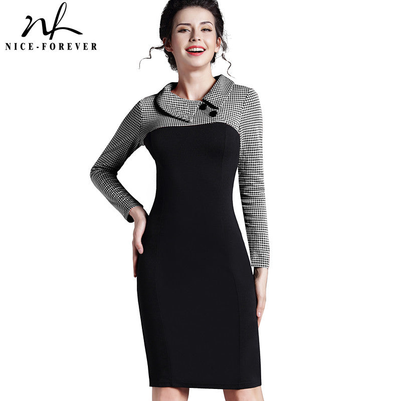 Nice-forever Elegant Vintage Fitted winter dress full Sleeve Patchwork Turn-down Collar Button Business Sheath Pencil Dress b238 - xfunshopping