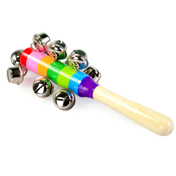 1 pc Wooden Stick 10 Jingle Bells Rainbow Hand Shake Bell Rattles Baby Kids Children Educational Toy - Random Delivery