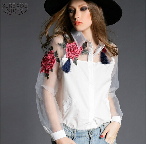 2015 new spring and summer blouse blusa embroidered flowers organza long-sleeved white shirt Black and white women tops 606B 28 - xfunshopping