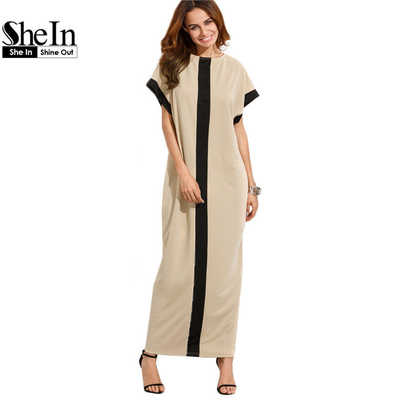 SheIn Women Loose Long Dresses Summer Dresses Casual Color Block Pocket Round Neck Short Sleeve Shift Maxi Dress - xfunshopping