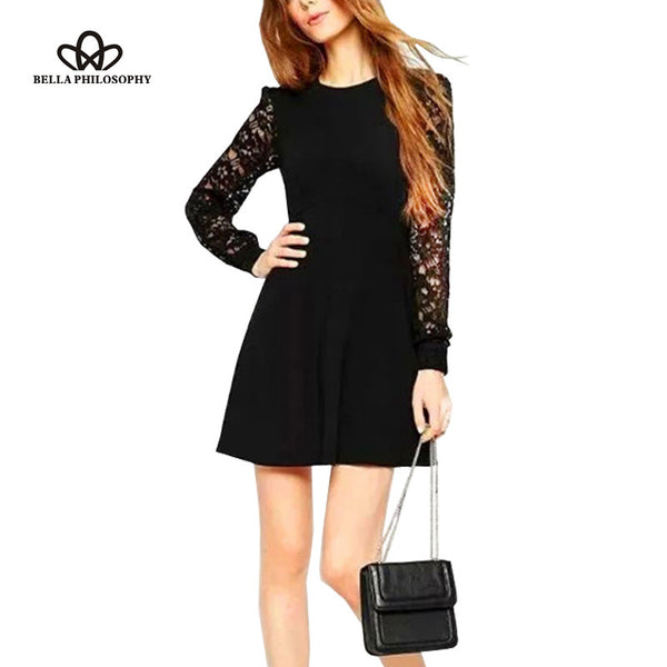 2016 spring summer  lace stitching long sleeve cultivate white black women causal dress