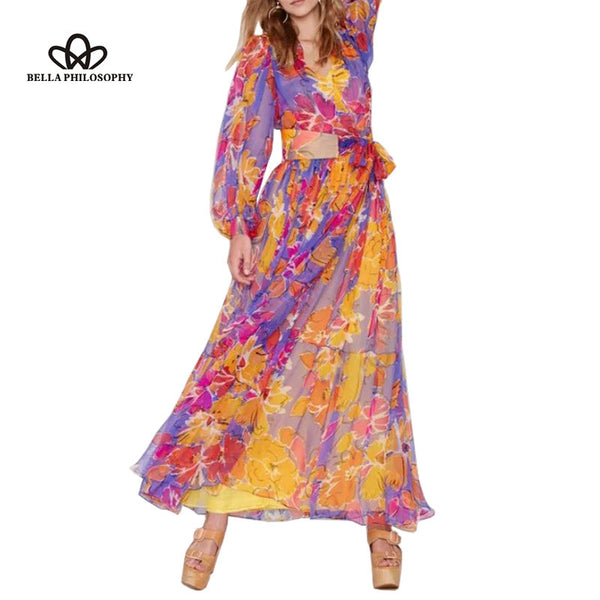 2016 spring summer new Womens vintage ethnic  long sleeves flroal print v-neck waisted belted chiffon long maxi dress