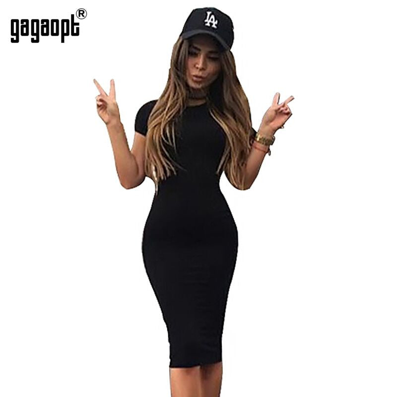 Gagaopt Autumn Women Dresses 95% Cotton Knee-Length Skinny Office Dress Short Sleeve Bandage Robes Bodycon Vestidos Pencil Dress - xfunshopping