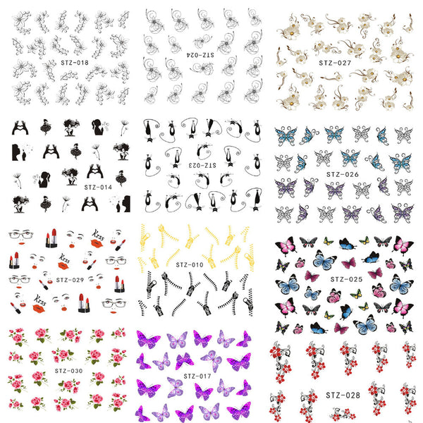 1 Sheet Fashion Style Nail Art Water Transfer Sticker Polish Watermark Decals Manicure Wraps Decor Beauty Nail Tools STZ001-031