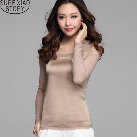 2015 new Summer women blouses casual chiffon silk blouse slim long sleeve O-neck blusa feminina tops shirts solid 8 color 65E 32