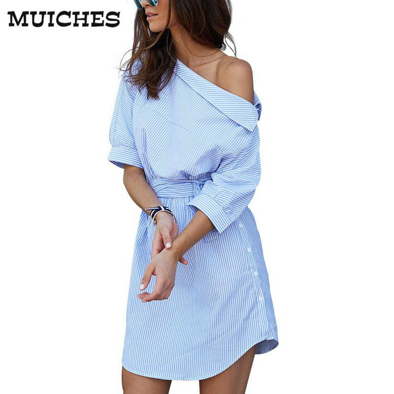 2016 Fashion one shoulder Blue striped women dress shirt Sexy side split Elegant half sleeve waistband OL girls  beach dresses - xfunshopping