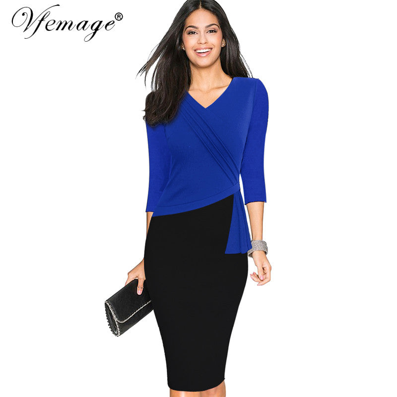 Vfemage Womens New Mature Elegant V-neck Warm Stylish Wiggle Work dress Office Bodycon Female 3/4 Sleeve Sheath Woman Dress 4330 - xfunshopping