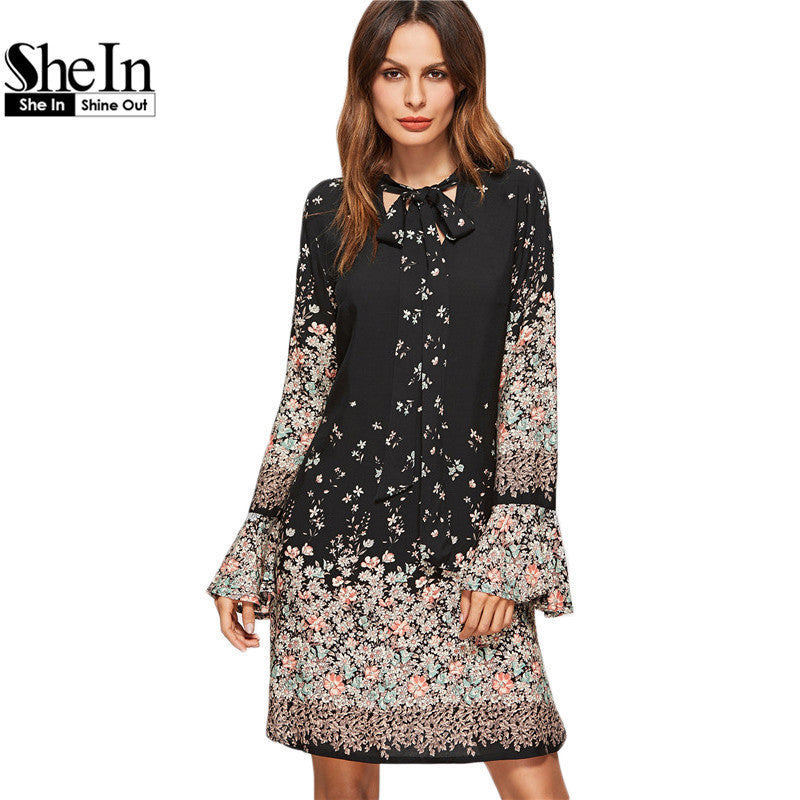SheIn Korean Women Clothing Floral Print Dresses Women	 Spring Black Tie Neck Long Flare Sleeve Casual A Line Dress - xfunshopping