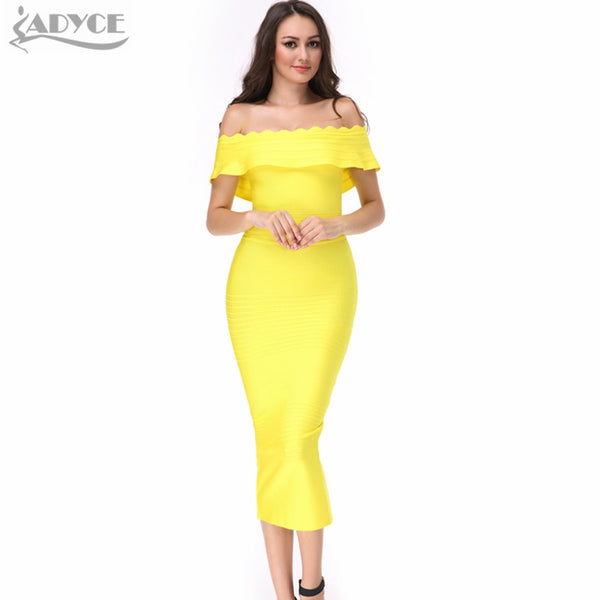 2017 Ruffles blue pink red orange purple Off The Shoulder strapless Bandage Dress Celenrity Bodycon party Dress wholesale