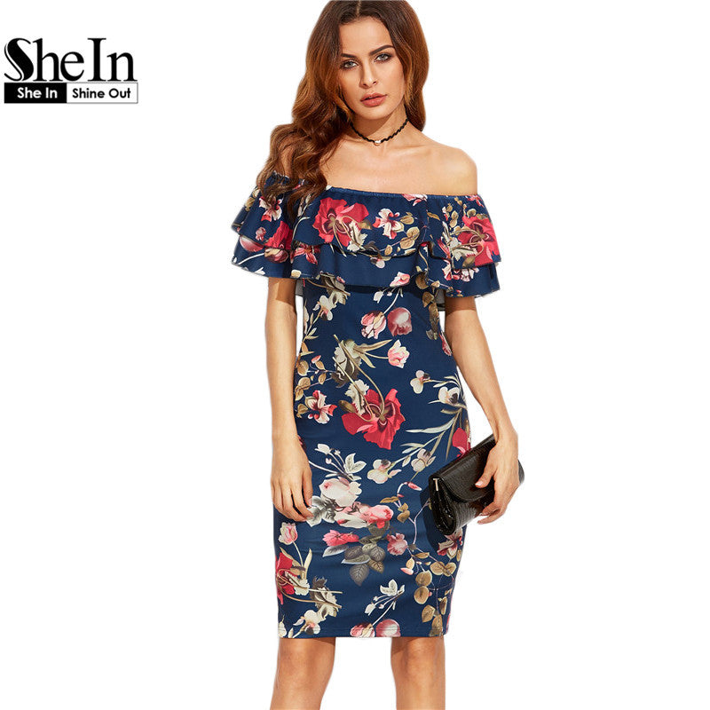 SheIn Summer Dress 2017 Clothes Women Short Sleeve Multicolor Floral Print Off The Shoulder Ruffle Sheath Dress - xfunshopping
