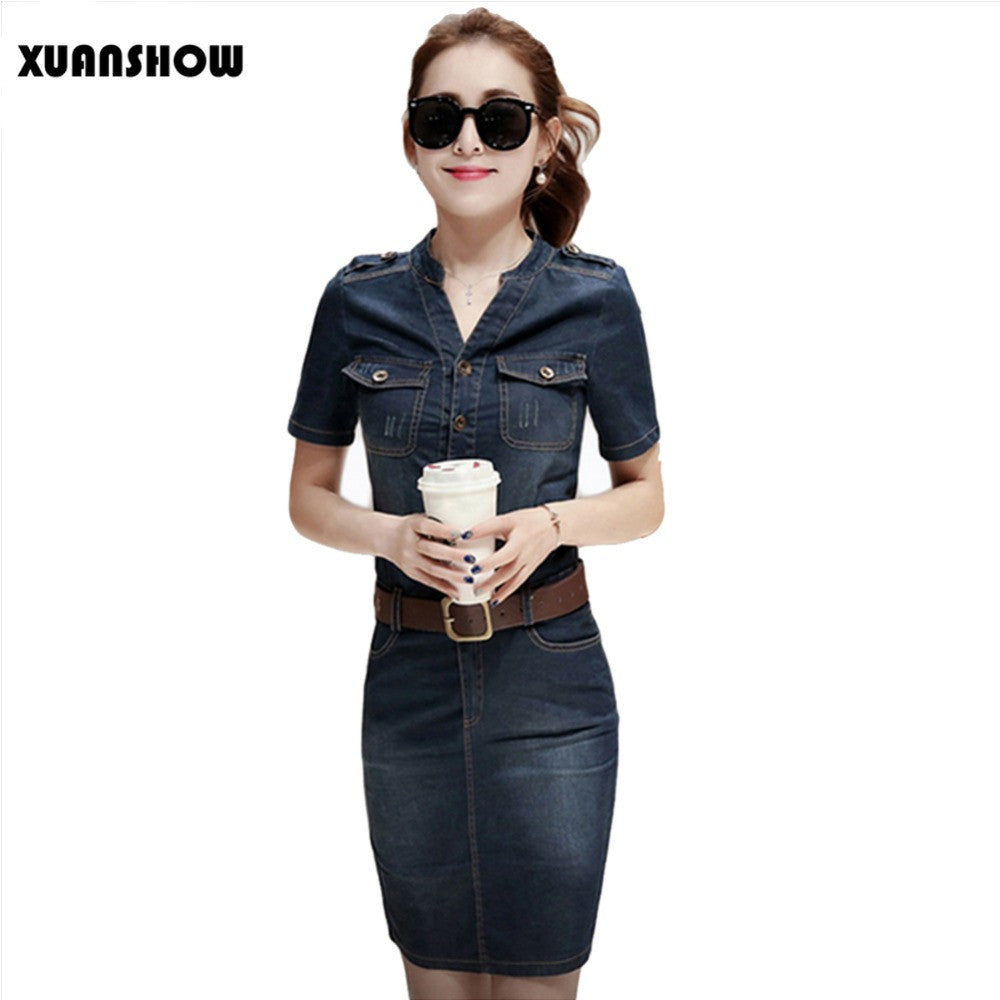 2017 Women Denim Dress Slim Casual Party Club Work Office Jeans Women Dresses Plus Size Ladies Robe Vestidos - xfunshopping