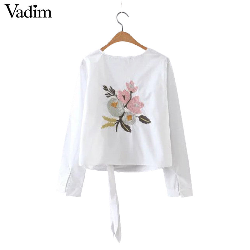 Women back sweet floral embroidery full cotton blouse hem bow O-neck long sleeve shirts ladies casual brand tops blusas LT1257 - xfunshopping