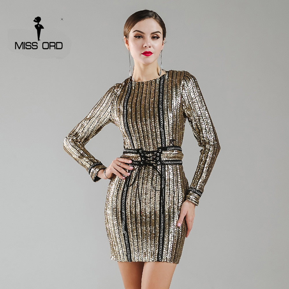 Missord 2017 Sexy O-neck long sleeve sequin belt rope dress FT4935 - xfunshopping