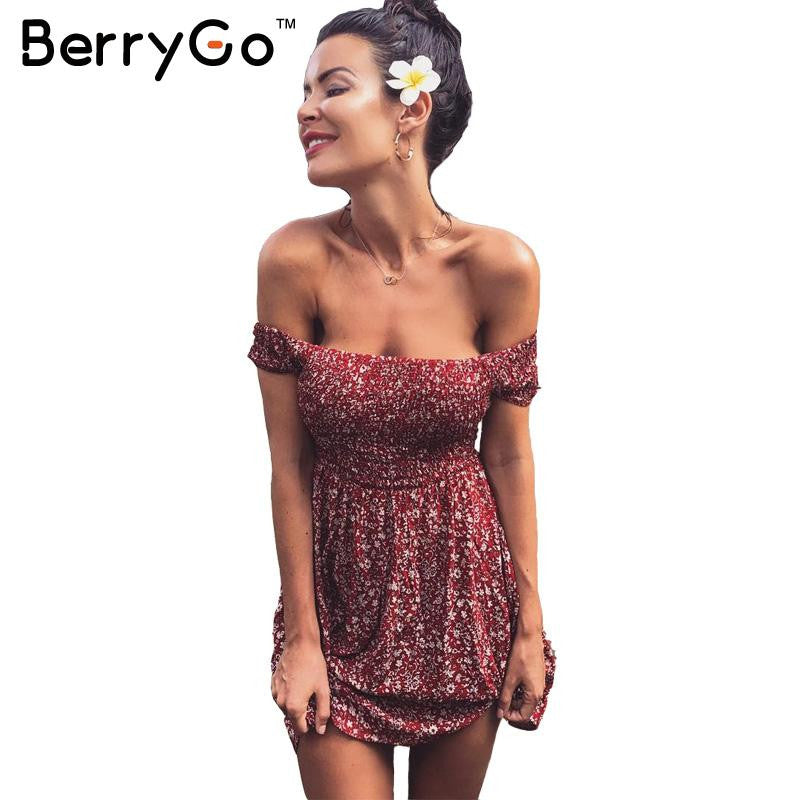 BerryGo Sexy off shoulder print summer dress Vintage high waist beach dress 2016 Elegant fit and flare short girls dresses women - xfunshopping