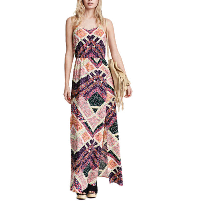Women vintage geometric slip maxi dress sexy sleeveless spaghetti strap backless ladies summer casual dresses Vestidos QZ2535 - xfunshopping