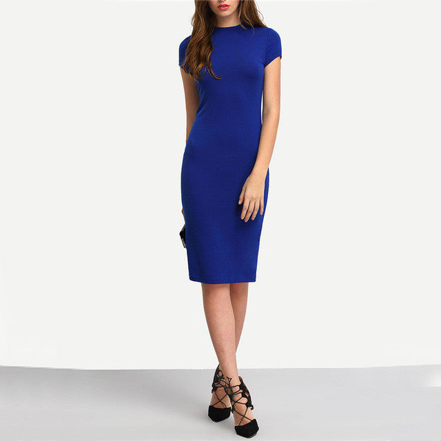 COLROVIE Summer Office New Arrival Women's Bodycon Dresses Sexy Short Sleeve Crew Necl Work Knee Length Dress - xfunshopping