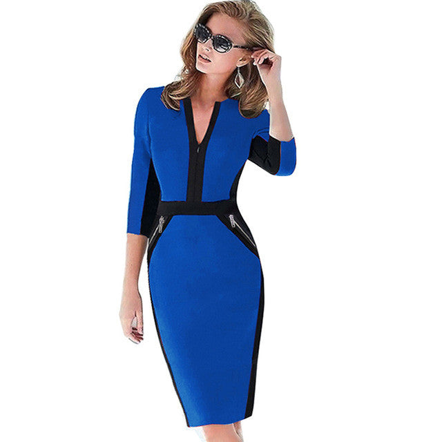 Plus Size Front Zipper Women Work Wear Elegant Stretch Dress Charming Bodycon Pencil Midi Spring Business Casual Dresses 837 - xfunshopping